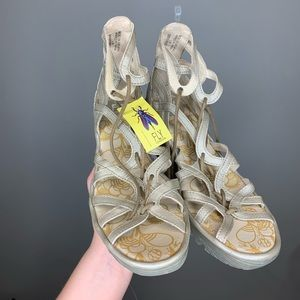 NWT Fly London Leather Lace Up Wedge Sandals Sz 11